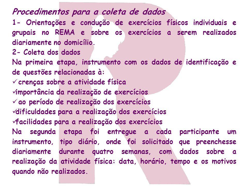 Procedimentos para a coleta de dados 1- Orientações e condução de exercícios físicos individuais e grupais no REMA e sobre os exercícios a serem reali