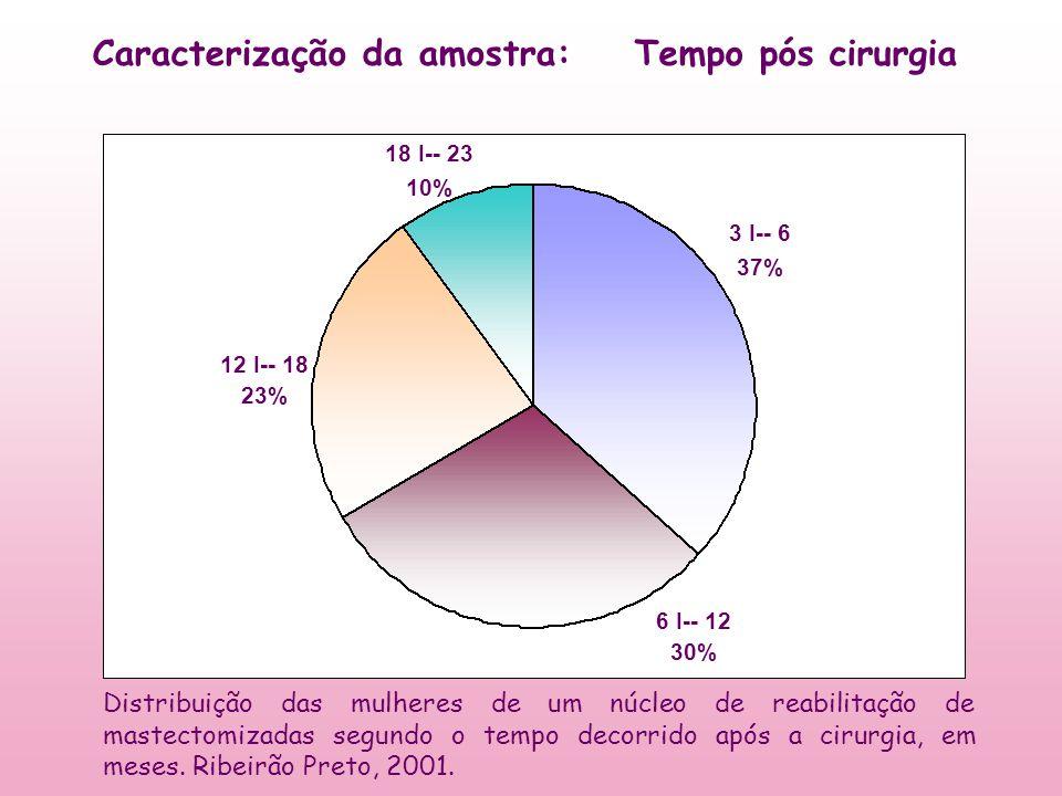 3 I-- 6 37% 6 I-- 12 30% 12 I-- 18 23% 18 I-- 23 10% Tempo pós cirurgiaCaracterização da amostra: Distribuição das mulheres de um núcleo de reabilitaç