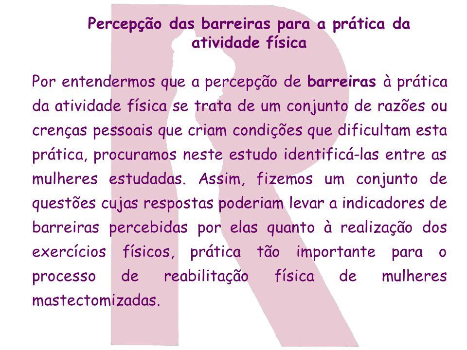 Percepção das barreiras para a prática da atividade física Por entendermos que a percepção de barreiras à prática da atividade física se trata de um c