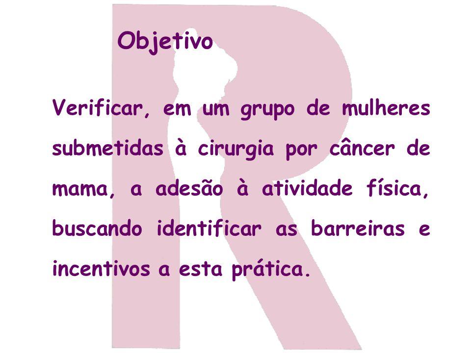 Objetivo Verificar, em um grupo de mulheres submetidas à cirurgia por câncer de mama, a adesão à atividade física, buscando identificar as barreiras e