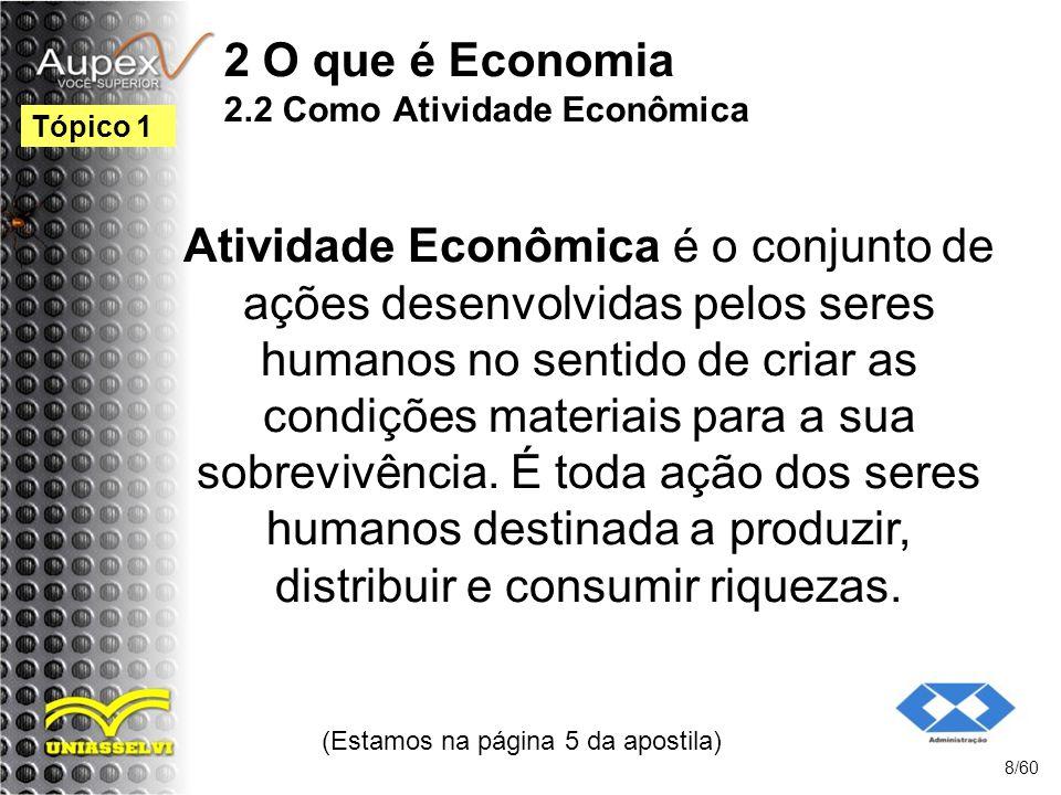 2 O que é Economia 2.2 Como Atividade Econômica Atividade Econômica é o conjunto de ações desenvolvidas pelos seres humanos no sentido de criar as con