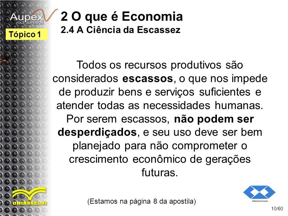 2 O que é Economia 2.4 A Ciência da Escassez Todos os recursos produtivos são considerados escassos, o que nos impede de produzir bens e serviços sufi