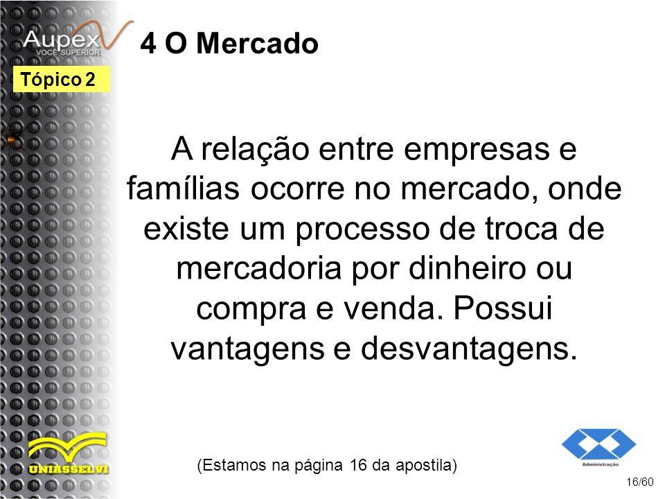 4 O Mercado A relação entre empresas e famílias ocorre no mercado, onde existe um processo de troca de mercadoria por dinheiro ou compra e venda. Poss