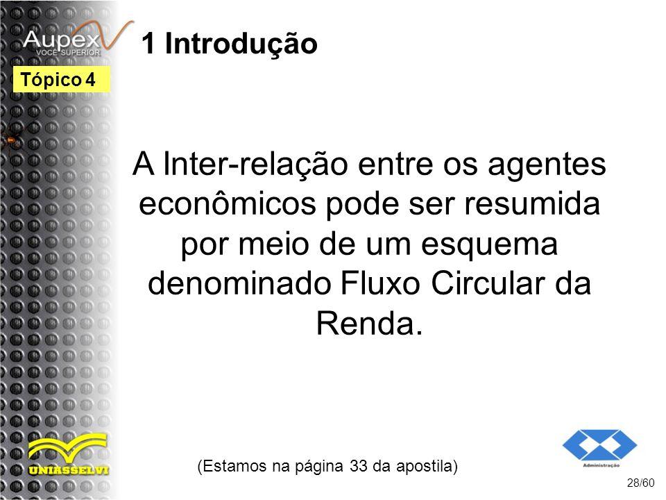1 Introdução A Inter-relação entre os agentes econômicos pode ser resumida por meio de um esquema denominado Fluxo Circular da Renda. (Estamos na pági