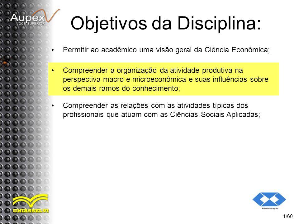 Objetivos da Disciplina: Permitir ao acadêmico uma visão geral da Ciência Econômica; 1/60 Compreender a organização da atividade produtiva na perspect