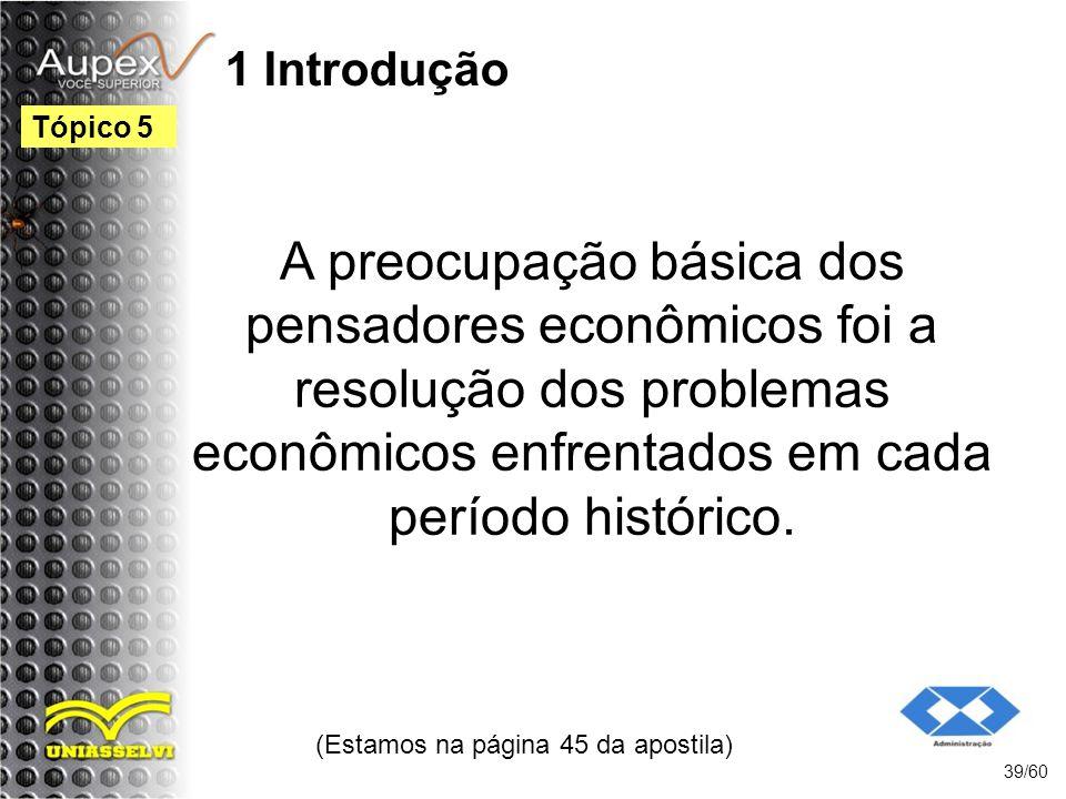 1 Introdução A preocupação básica dos pensadores econômicos foi a resolução dos problemas econômicos enfrentados em cada período histórico. (Estamos n