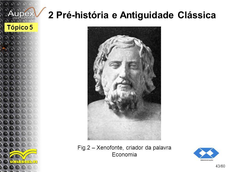 2 Pré-história e Antiguidade Clássica 43/60 Tópico 5 Fig.2 – Xenofonte, criador da palavra Economia