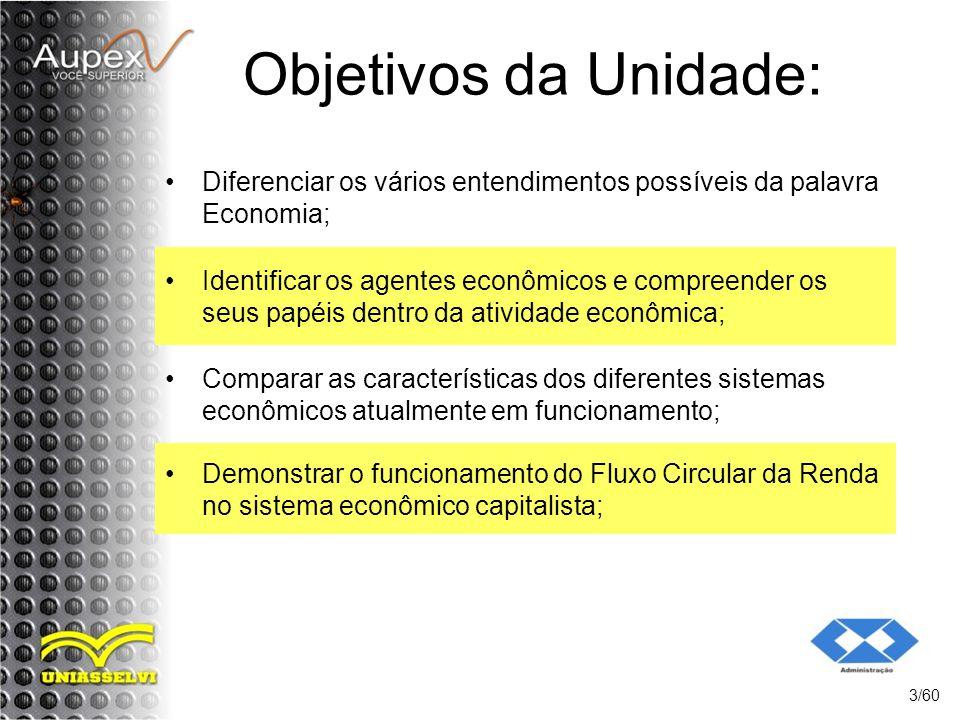 Objetivos da Unidade: Diferenciar os vários entendimentos possíveis da palavra Economia; 3/60 Identificar os agentes econômicos e compreender os seus