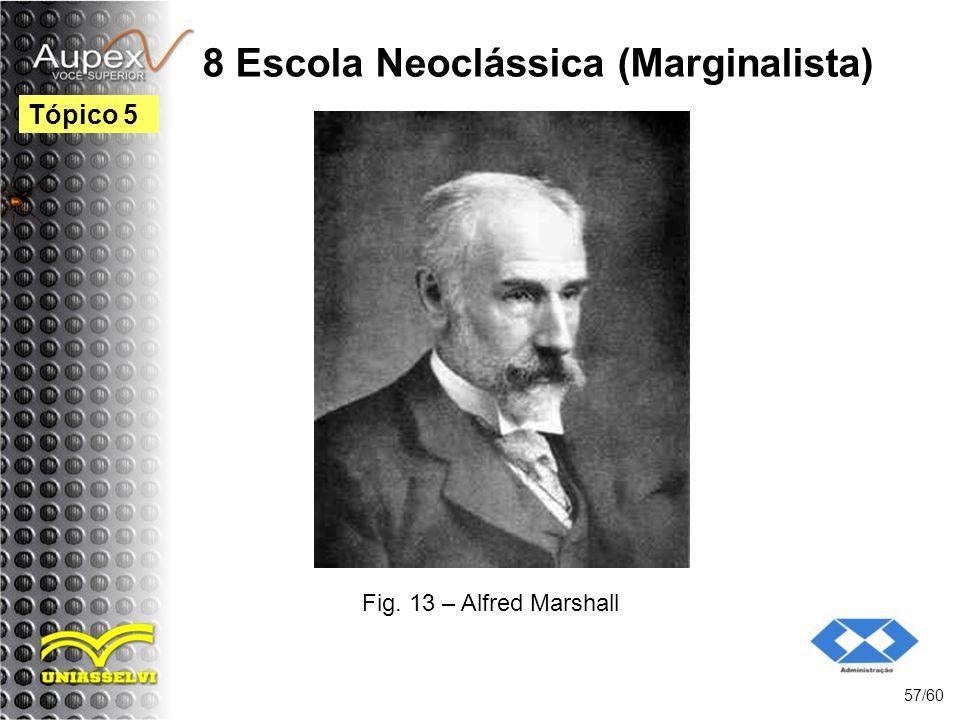 8 Escola Neoclássica (Marginalista) 57/60 Tópico 5 Fig. 13 – Alfred Marshall