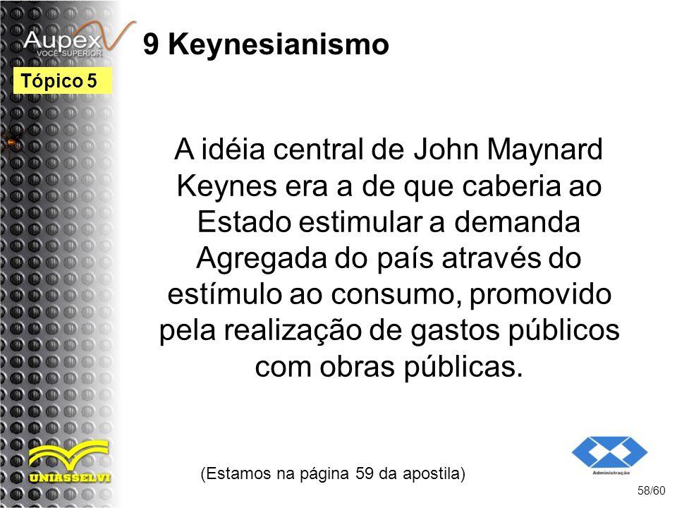 9 Keynesianismo A idéia central de John Maynard Keynes era a de que caberia ao Estado estimular a demanda Agregada do país através do estímulo ao cons