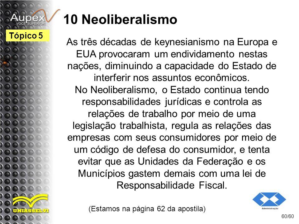 10 Neoliberalismo As três décadas de keynesianismo na Europa e EUA provocaram um endividamento nestas nações, diminuindo a capacidade do Estado de int