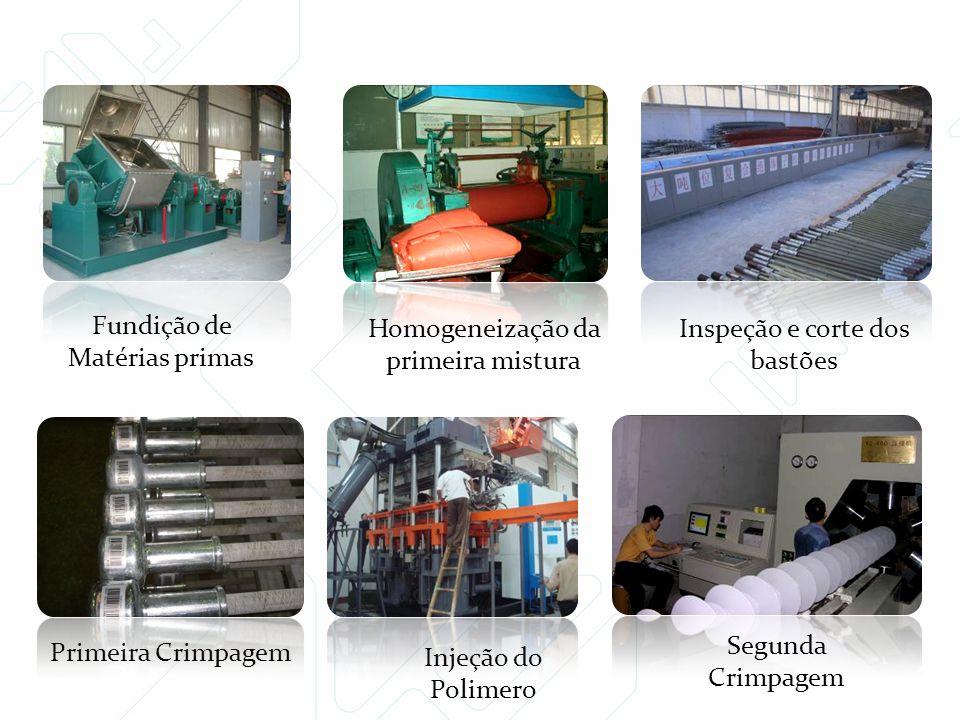 Injeção do Polimero Fundição de Matérias primas Primeira Crimpagem Homogeneização da primeira mistura Inspeção e corte dos bastões Segunda Crimpagem