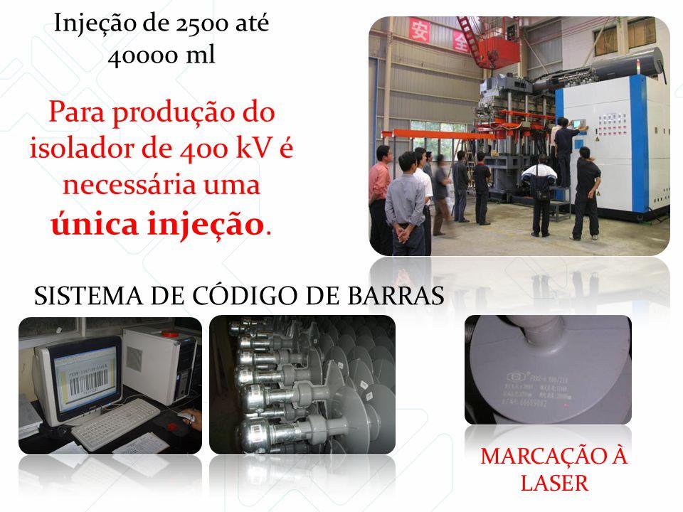 Para produção do isolador de 400 kV é necessária uma única injeção. Injeção de 2500 até 40000 ml SISTEMA DE CÓDIGO DE BARRAS MARCAÇÃO À LASER