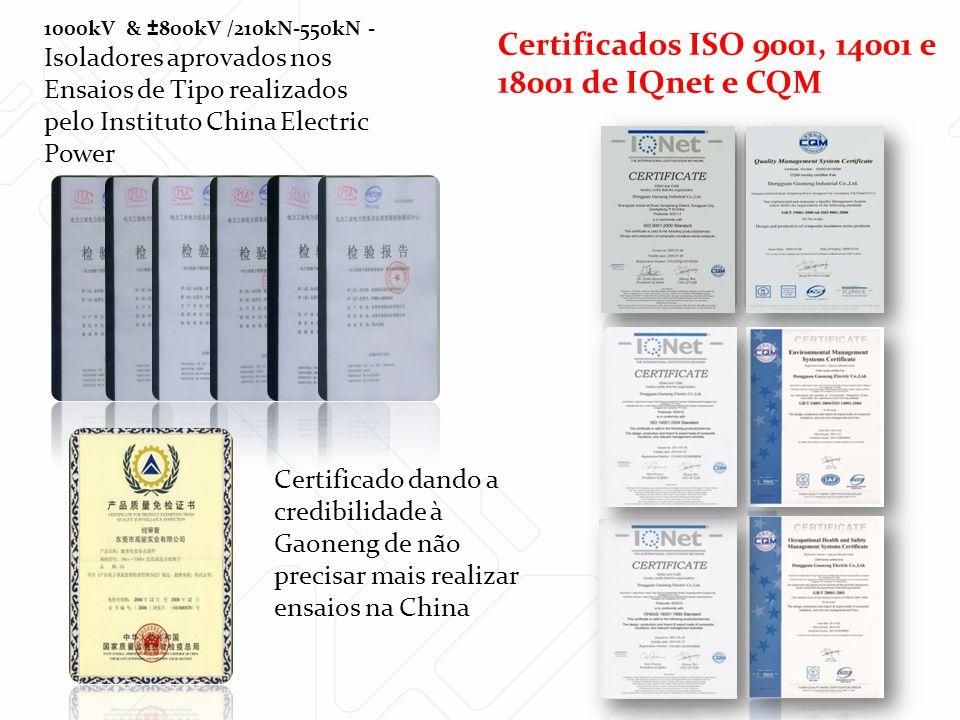1000kV & ±800kV /210kN-550kN - Isoladores aprovados nos Ensaios de Tipo realizados pelo Instituto China Electric Power Certificado dando a credibilida