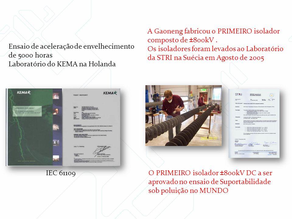 Ensaio de aceleração de envelhecimento de 5000 horas Laboratório do KEMA na Holanda IEC 61109 A Gaoneng fabricou o PRIMEIRO isolador composto de ±800k