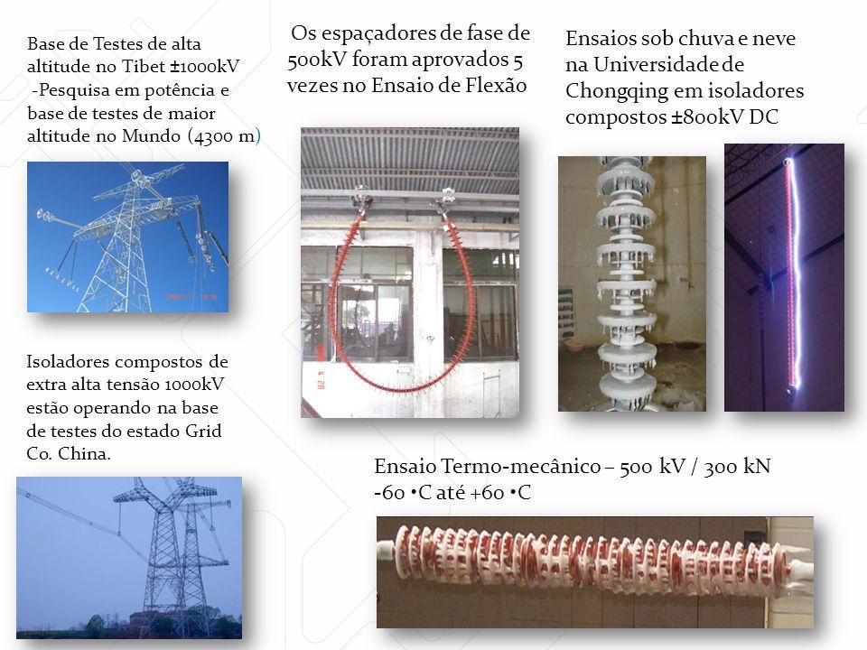 Os espaçadores de fase de 500kV foram aprovados 5 vezes no Ensaio de Flexão Isoladores compostos de extra alta tensão 1000kV estão operando na base de