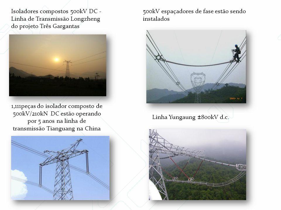 Isoladores compostos 500kV DC - Linha de Transmissão Longzheng do projeto Três Gargantas 1,111peças do isolador composto de 500kV/210kN DC estão opera
