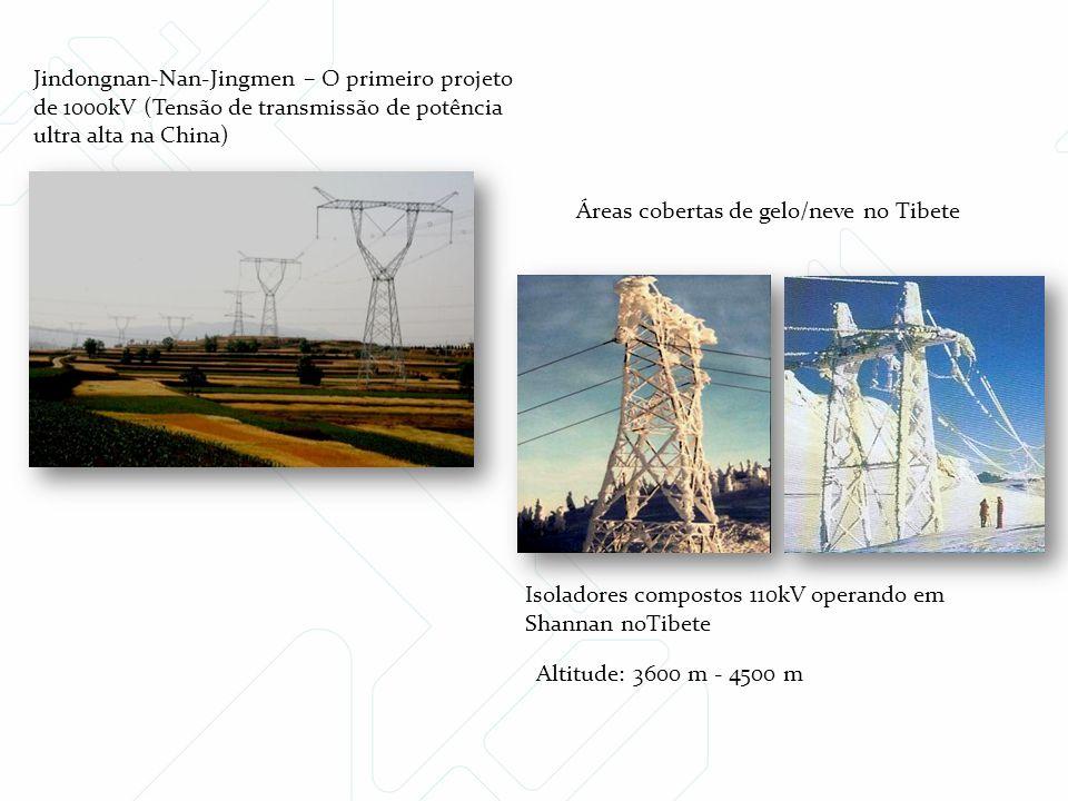 Jindongnan-Nan-Jingmen – O primeiro projeto de 1000kV (Tensão de transmissão de potência ultra alta na China) Altitude: 3600 m - 4500 m Áreas cobertas