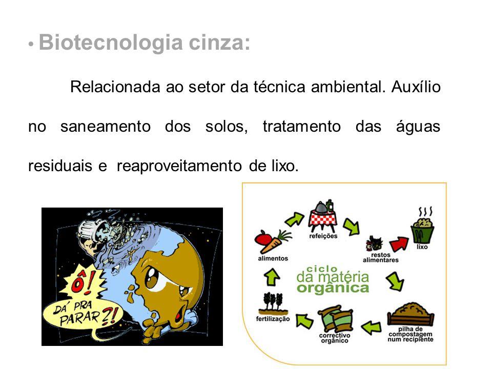 Biotecnologia cinza: Relacionada ao setor da técnica ambiental. Auxílio no saneamento dos solos, tratamento das águas residuais e reaproveitamento de