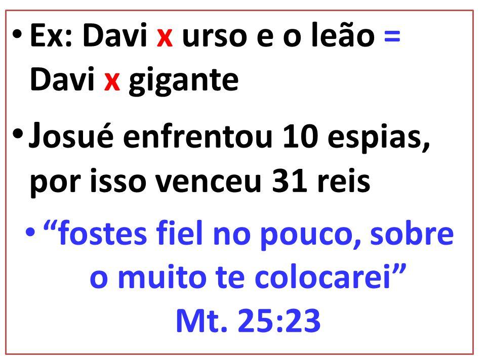 Ex: Davi x urso e o leão = Davi x gigante J osué enfrentou 10 espias, por isso venceu 31 reis fostes fiel no pouco, sobre o muito te colocarei Mt. 25: