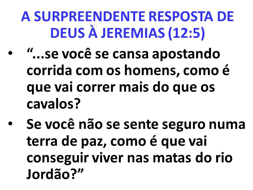 A SURPREENDENTE RESPOSTA DE DEUS À JEREMIAS (12:5)...se você se cansa apostando corrida com os homens, como é que vai correr mais do que os cavalos? S