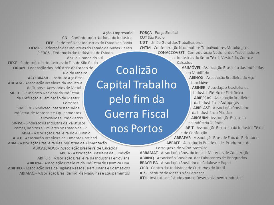 Coalizão Capital Trabalho pelo fim da Guerra Fiscal nos Portos Ação Empresarial CNI - Confederação Nacional da Indústria FIEB - Federação das Indústri