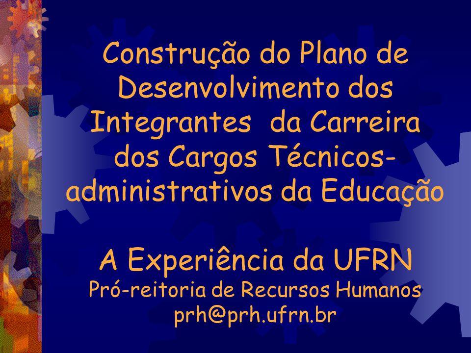 Construção do Plano de Desenvolvimento dos Integrantes da Carreira dos Cargos Técnicos- administrativos da Educação A Experiência da UFRN Pró-reitoria