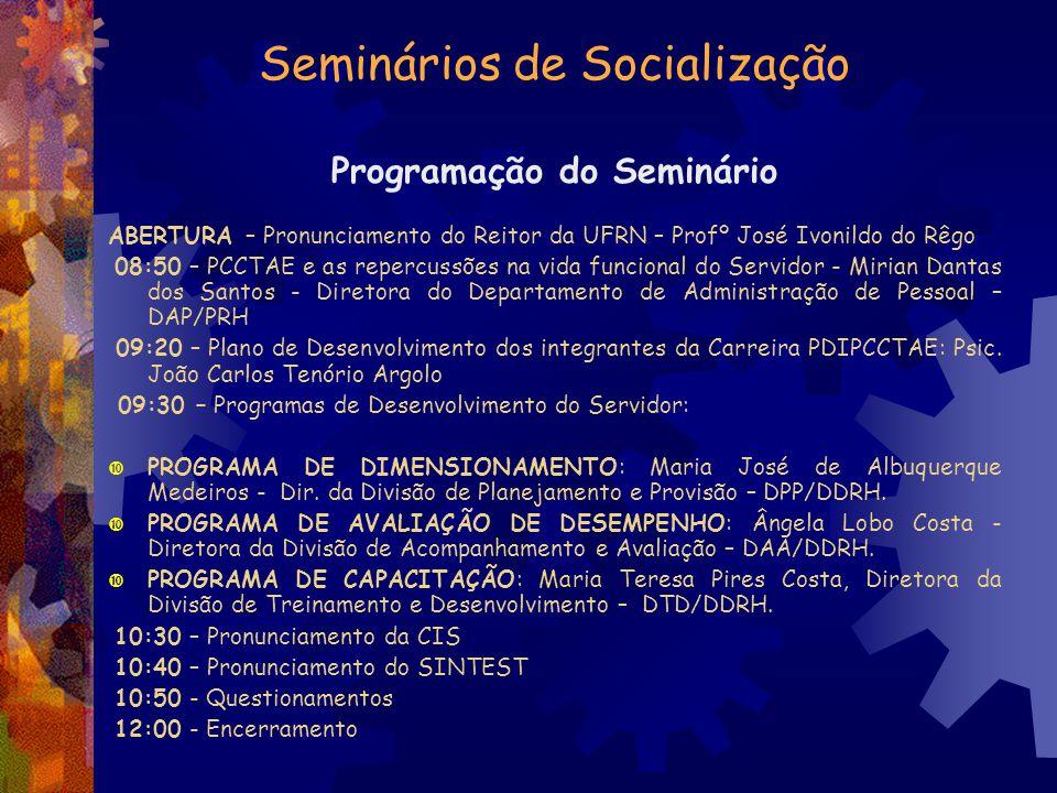 Seminários de Socialização Programação do Seminário ABERTURA – Pronunciamento do Reitor da UFRN – Profº José Ivonildo do Rêgo 08:50 – PCCTAE e as repe