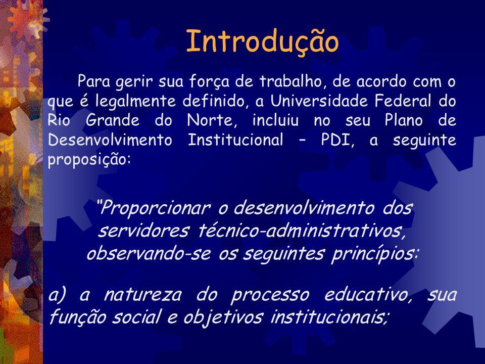 Introdução Para gerir sua força de trabalho, de acordo com o que é legalmente definido, a Universidade Federal do Rio Grande do Norte, incluiu no seu