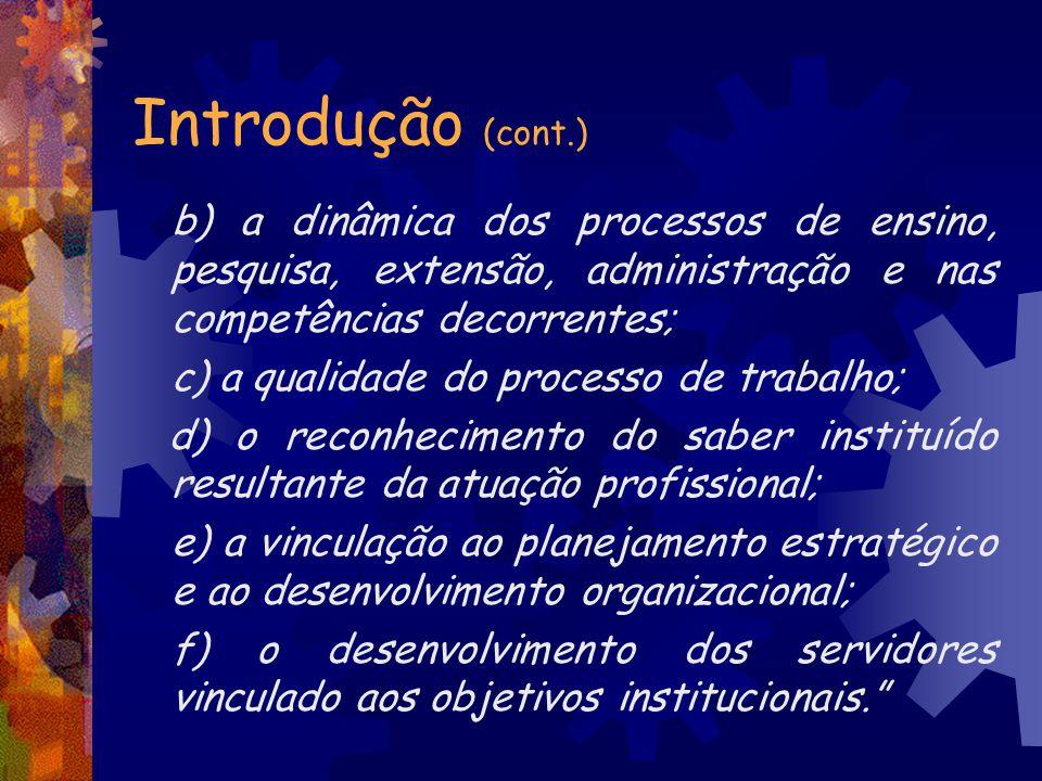Introdução (cont.) b) a dinâmica dos processos de ensino, pesquisa, extensão, administração e nas competências decorrentes; c) a qualidade do processo
