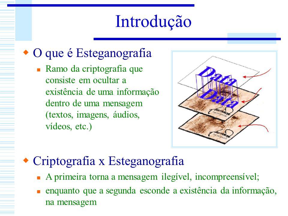 Introdução O que é Esteganografia Ramo da criptografia que consiste em ocultar a existência de uma informação dentro de uma mensagem (textos, imagens,