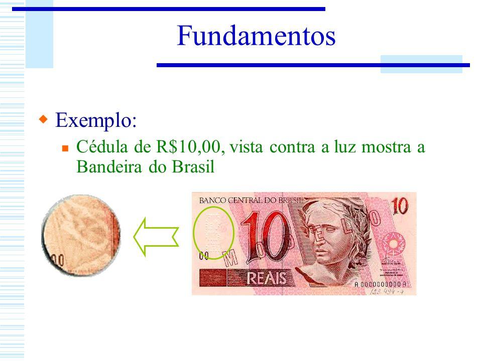 Exemplo: Cédula de R$10,00, vista contra a luz mostra a Bandeira do Brasil Fundamentos