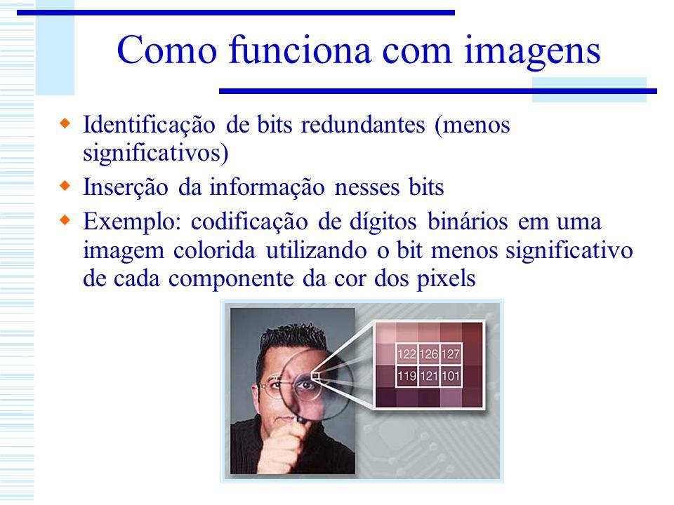 Como funciona com imagens Identificação de bits redundantes (menos significativos) Inserção da informação nesses bits Exemplo: codificação de dígitos