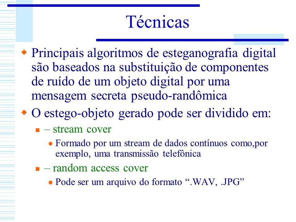 Técnicas Principais algoritmos de esteganografia digital são baseados na substituição de componentes de ruído de um objeto digital por uma mensagem se