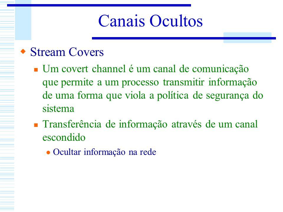 Canais Ocultos Stream Covers Um covert channel é um canal de comunicação que permite a um processo transmitir informação de uma forma que viola a polí