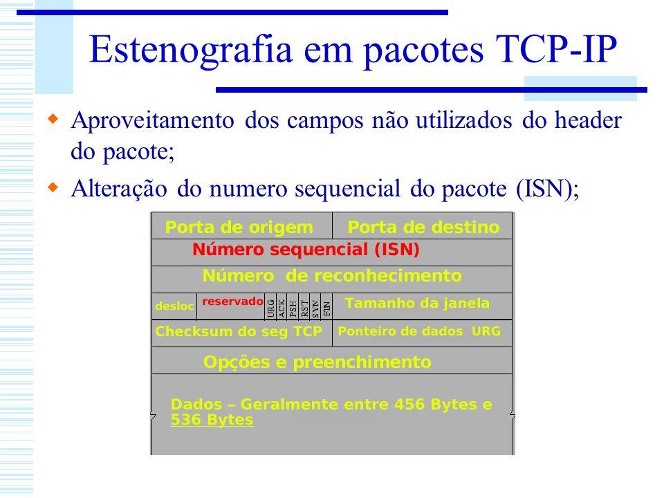 Estenografia em pacotes TCP-IP Aproveitamento dos campos não utilizados do header do pacote; Alteração do numero sequencial do pacote (ISN);