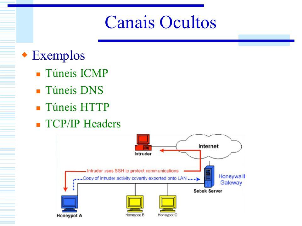 Canais Ocultos Exemplos Túneis ICMP Túneis DNS Túneis HTTP TCP/IP Headers