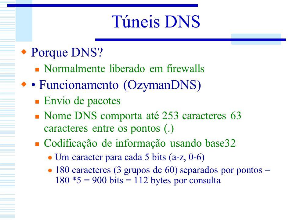 Túneis DNS Porque DNS? Normalmente liberado em firewalls Funcionamento (OzymanDNS) Envio de pacotes Nome DNS comporta até 253 caracteres 63 caracteres