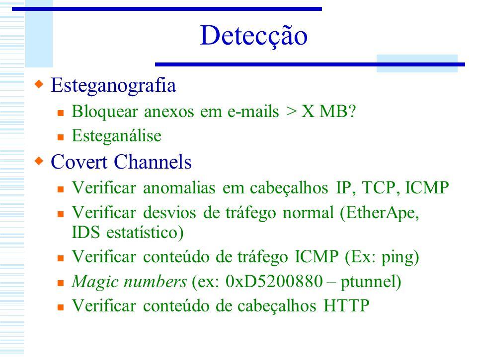 Detecção Esteganografia Bloquear anexos em e-mails > X MB? Esteganálise Covert Channels Verificar anomalias em cabeçalhos IP, TCP, ICMP Verificar desv