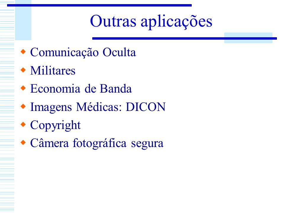 Outras aplicações Comunicação Oculta Militares Economia de Banda Imagens Médicas: DICON Copyright Câmera fotográfica segura