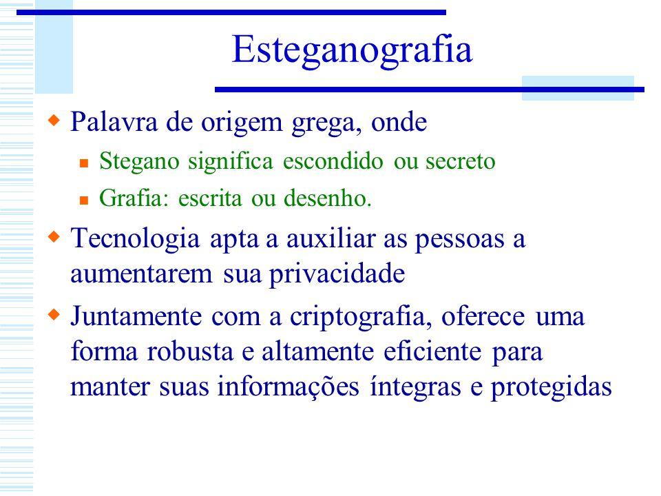 Esteganografia Palavra de origem grega, onde Stegano significa escondido ou secreto Grafia: escrita ou desenho. Tecnologia apta a auxiliar as pessoas