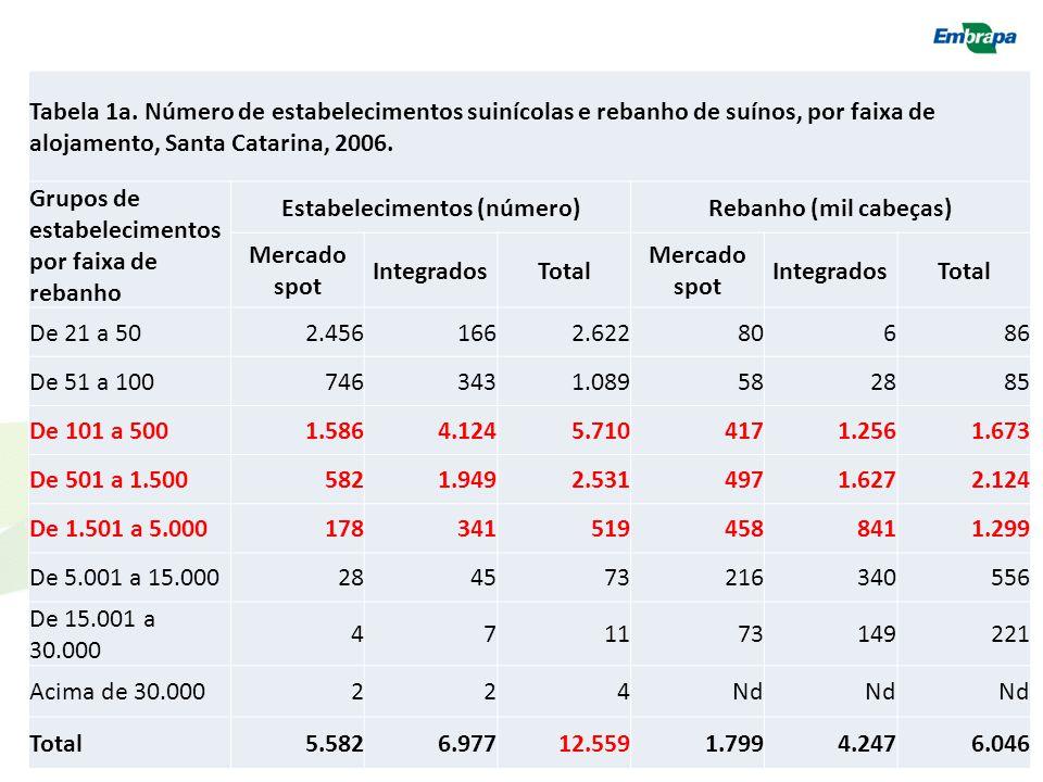 Tabela 1a. Número de estabelecimentos suinícolas e rebanho de suínos, por faixa de alojamento, Santa Catarina, 2006. Grupos de estabelecimentos por fa