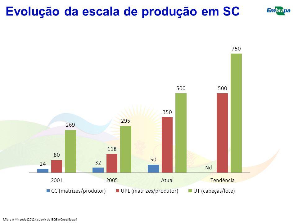 Evolução da escala de produção em SC Miele e Miranda (2012) a partir de IBGE e Cepa/Epagri