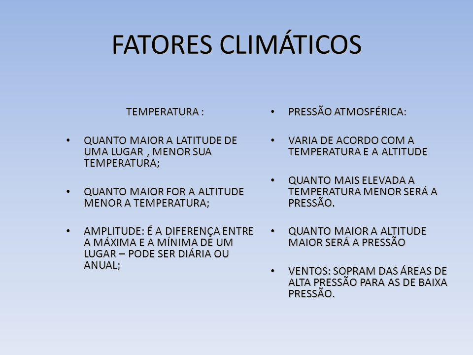 FATORES CLIMÁTICOS TEMPERATURA : TEMPERATURA : QUANTO MAIOR A LATITUDE DE UMA LUGAR, MENOR SUA TEMPERATURA; QUANTO MAIOR A LATITUDE DE UMA LUGAR, MENO