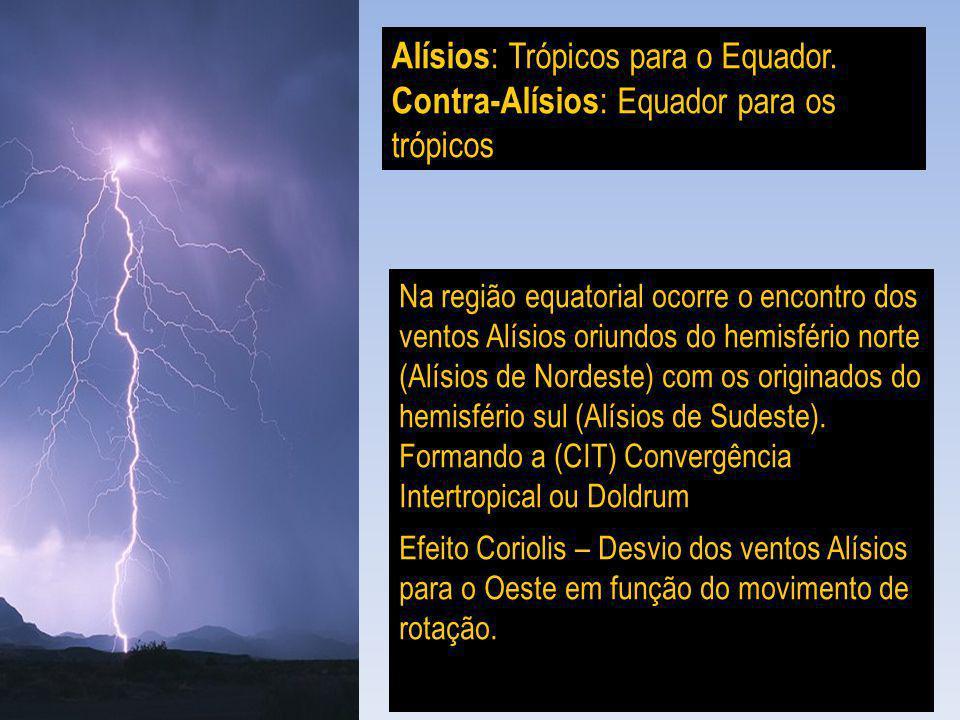 Alísios : Trópicos para o Equador. Contra-Alísios : Equador para os trópicos Na região equatorial ocorre o encontro dos ventos Alísios oriundos do hem