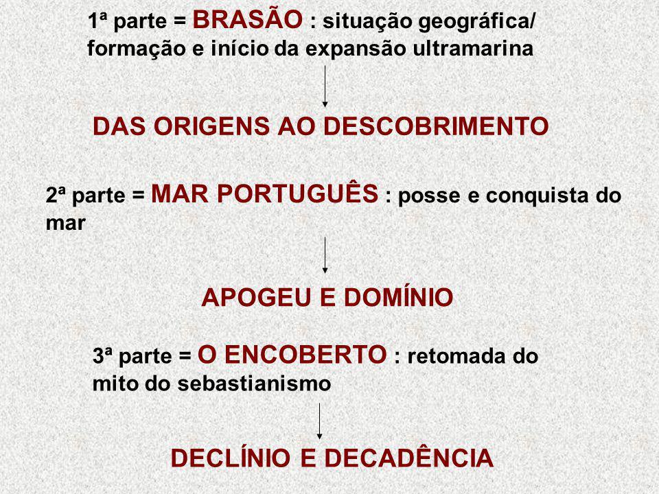 1ª parte = BRASÃO : situação geográfica/ formação e início da expansão ultramarina DAS ORIGENS AO DESCOBRIMENTO 2ª parte = MAR PORTUGUÊS : posse e con