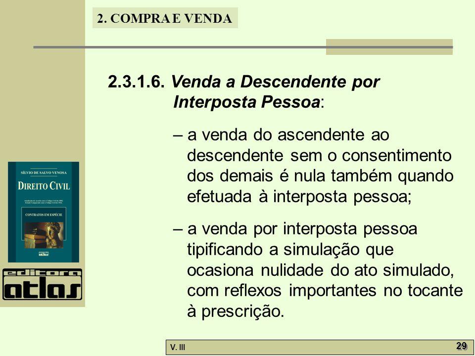 2. COMPRA E VENDA V. III 29 2.3.1.6. Venda a Descendente por Interposta Pessoa: – a venda do ascendente ao descendente sem o consentimento dos demais
