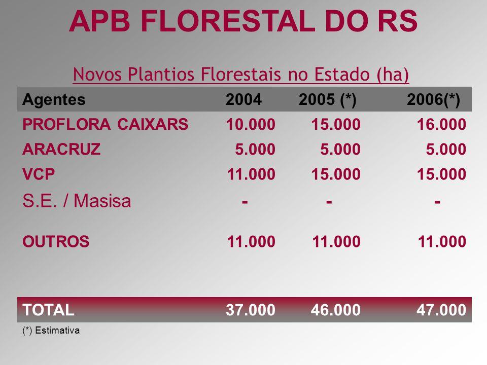 Setor Florestal no Brasil EucaliptoPinus Possibilidade SBS 2000 0 200 400 600 800 1000 1200 1400 1600 1800 MGSPPRBASCRS OUTROS ESMSAPPA AREA PLANTADA (x 1000 ha) 1 milhão ha Área plantada por Estado