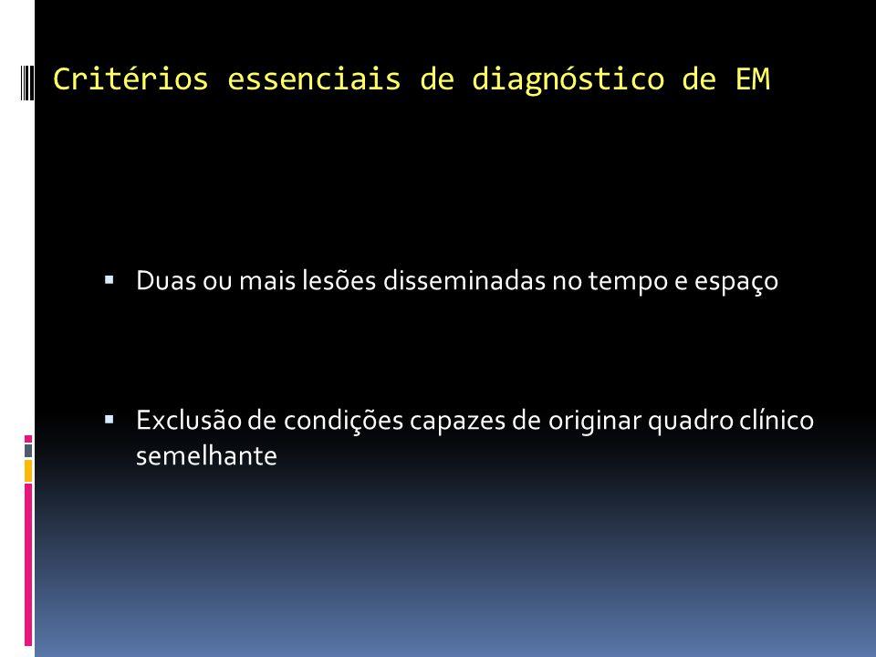Critérios essenciais de diagnóstico de EM Duas ou mais lesões disseminadas no tempo e espaço Exclusão de condições capazes de originar quadro clínico