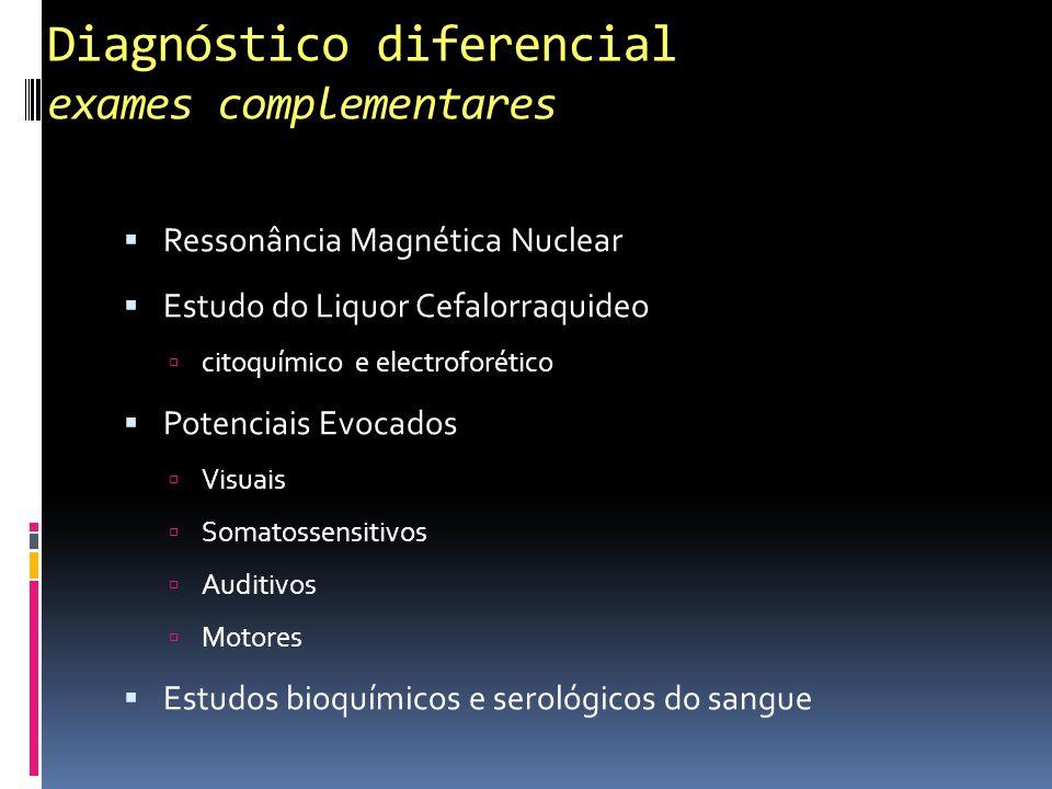 Diagnóstico diferencial exames complementares Ressonância Magnética Nuclear Estudo do Liquor Cefalorraquideo citoquímico e electroforético Potenciais